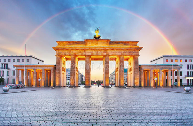 Berlin Brandenburger gate with rainbow stock photo