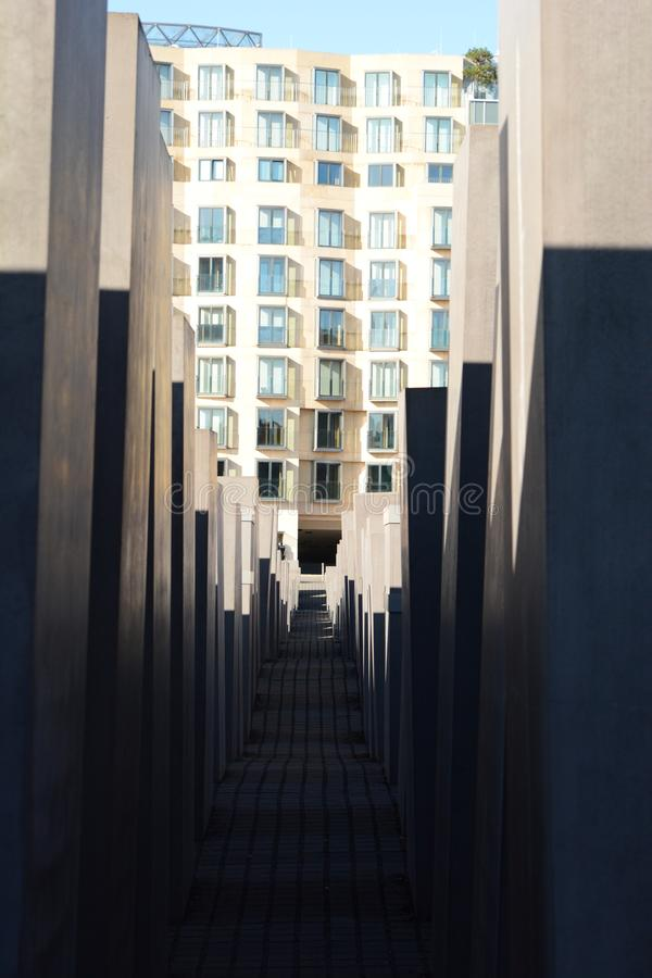 View between the stelae. Memorial to the Murdered Jews of Europe. Berlin. Germany. Berlin is the capital and largest city of Germany; the Memorial to the royalty free stock photos