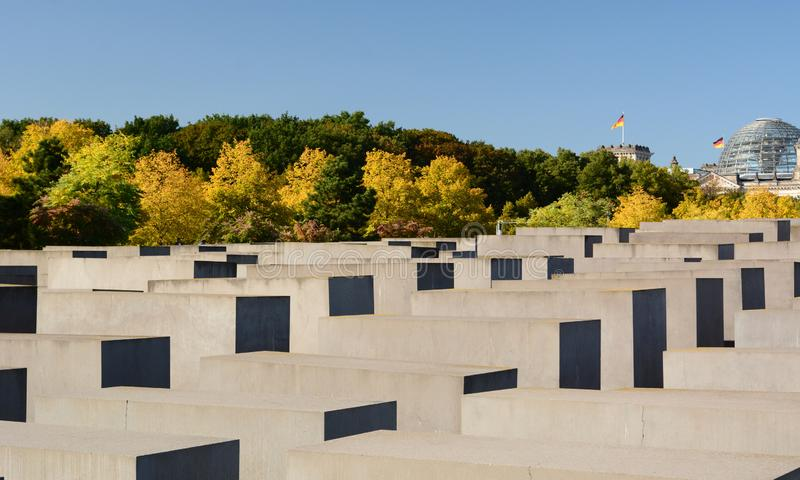 Panorama of the Memorial to the Murdered Jews of Europe. Berlin. Germany. Berlin is the capital and largest city of Germany; the Memorial to the Murdered Jews of royalty free stock image