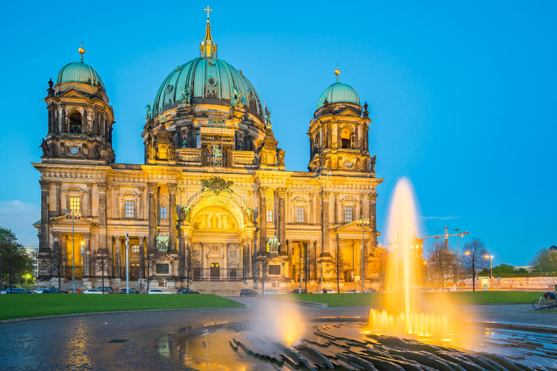Berlin Cathedral in Berlin, Germany at night royalty free stock photo