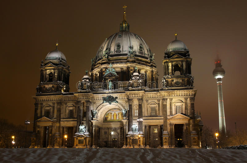 Berlin Cathedral (Berliner Dom) at night stock image