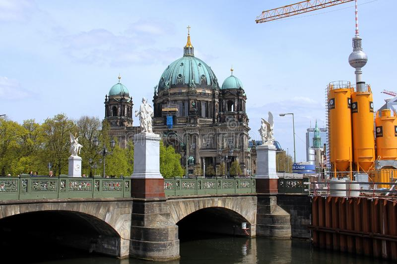 Berlin Cathedral Berliner Dome and the Schloss Bridge Schlossbrücke royalty free stock image