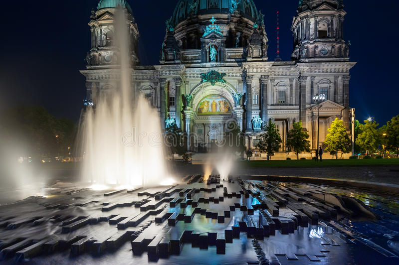 Berlin Cathedral illuminated at night. Berlin Cathedral, or Berliner Dom, illuminated at night stock photos