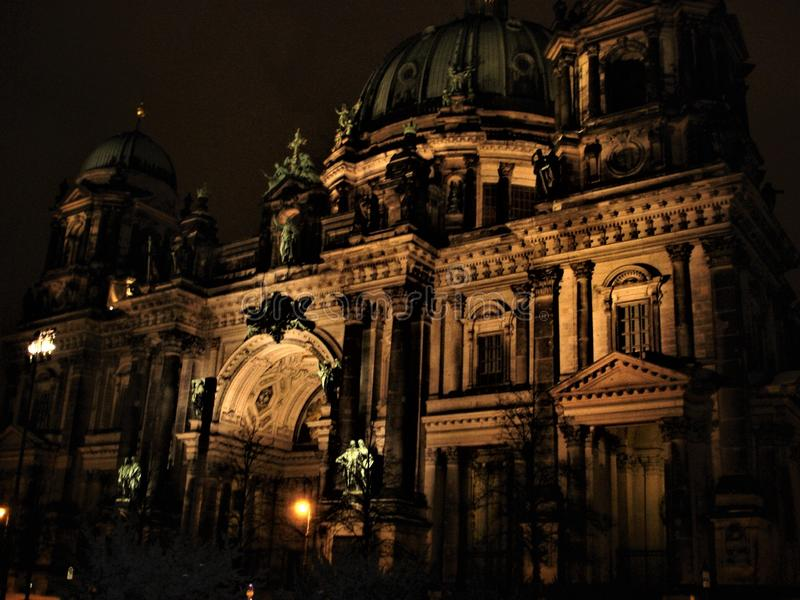 Berlin Cathedral, lights and the night stock photography