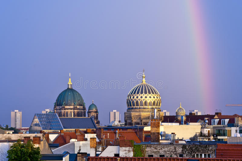 Berlin cathedral and new synagogue domes in Berlin, Germany royalty free stock photography