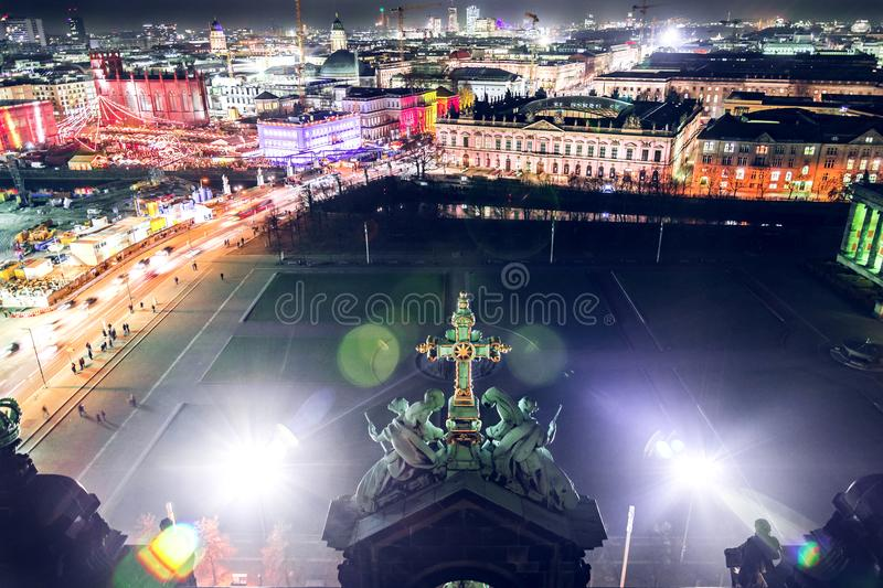 Berlin Cathedral View di notte immagine stock