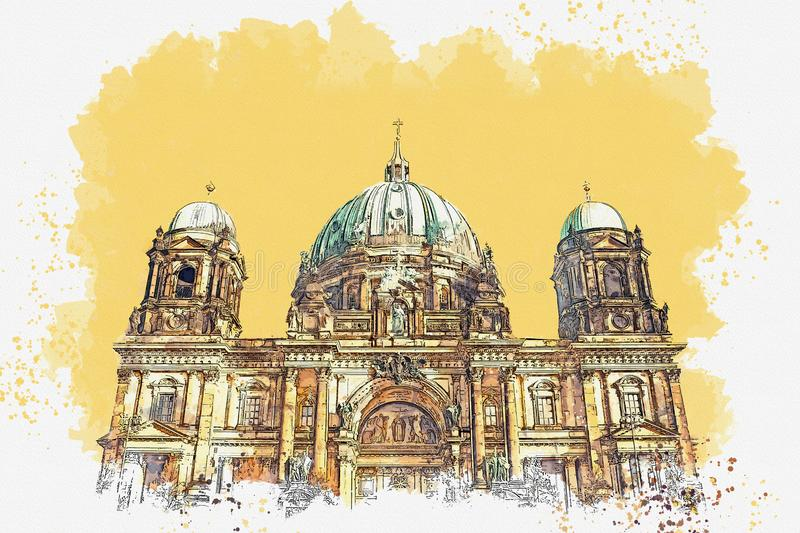 The Berlin Cathedral in Berlin. A watercolor sketch or illustration of the Berlin Cathedral called Berliner Dom. Berlin, Germany. City architecture