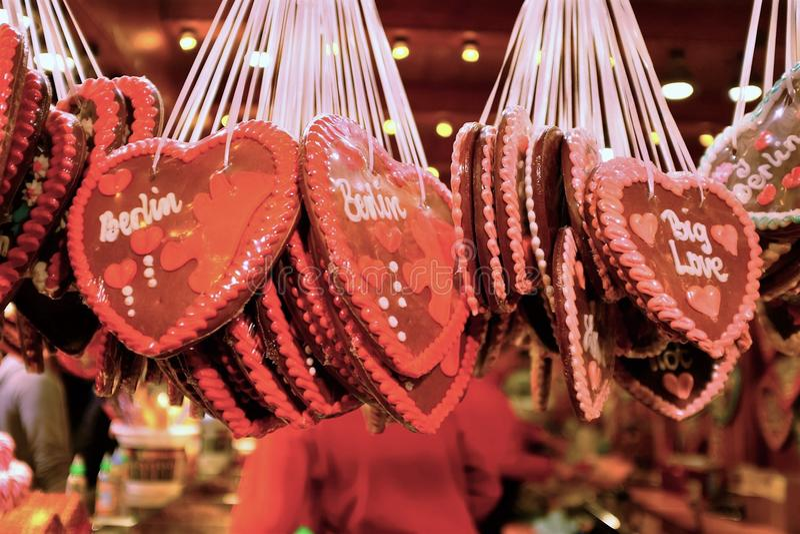 Berlin Christmas Market Cookies With-Wort Berlin auf ihnen lizenzfreies stockfoto