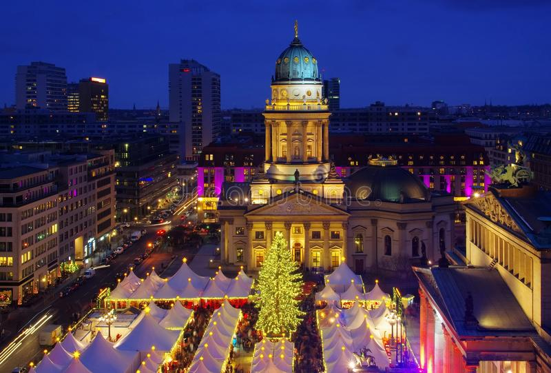 Berlin christmas market Gendarmenmarkt. Berlin, the christmas market Gendarmenmarkt by night royalty free stock photos