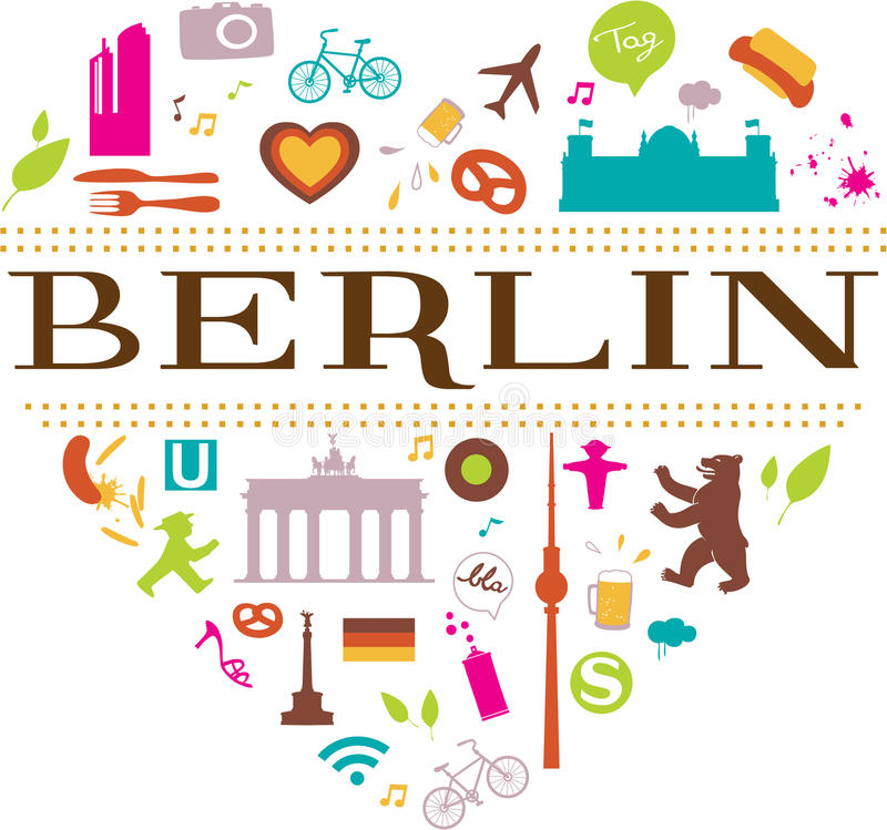 Berlin. City concept in shape of a heart stock illustration