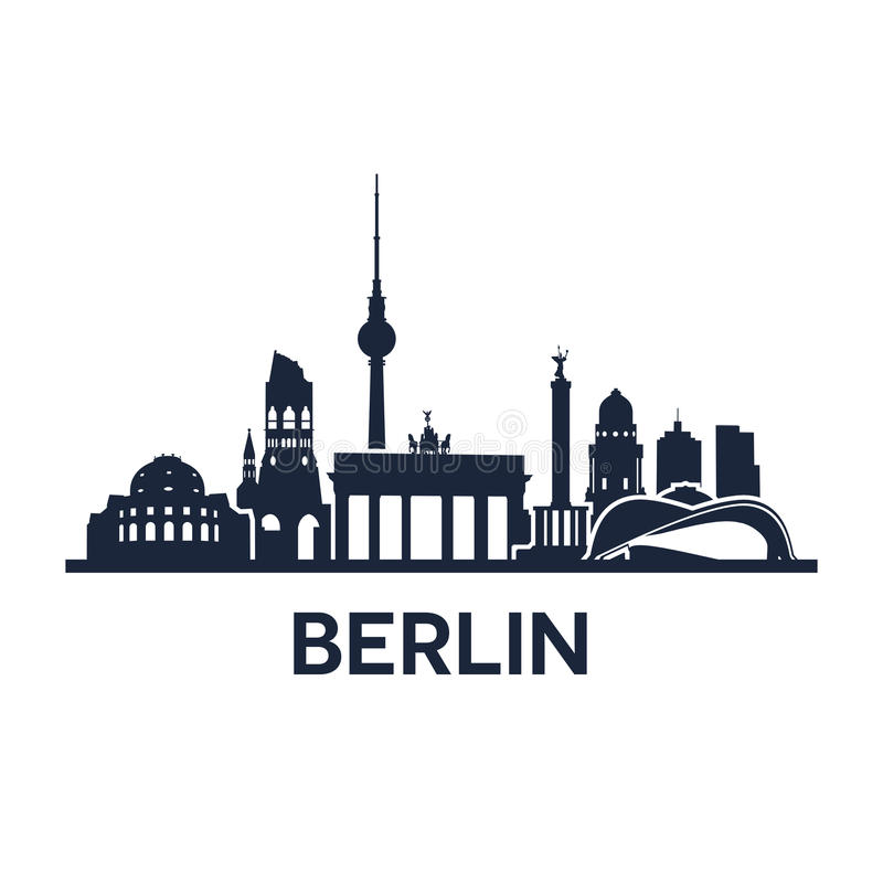 Berlin City Skyline stock illustration
