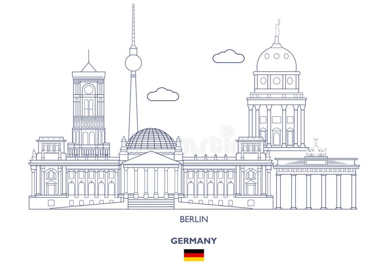Berlin City Skyline, Allemagne illustration libre de droits