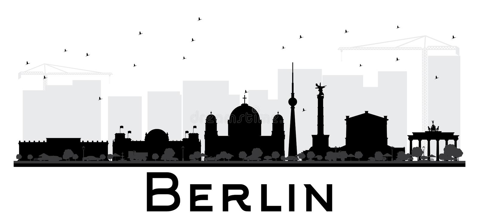 Berlin City skyline black and white silhouette. Simple flat concept for tourism presentation, banner, placard or web site. Cityscape with landmarks. Vector vector illustration