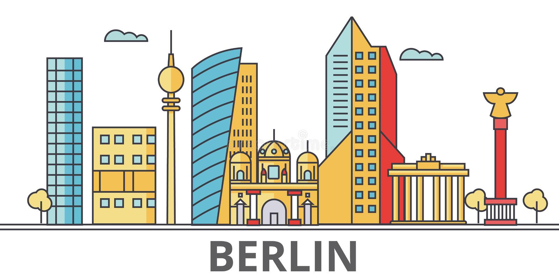 Berlin city skyline. Buildings, streets, silhouette, architecture, landscape, panorama, landmarks. Editable strokes. Flat design line vector illustration stock illustration