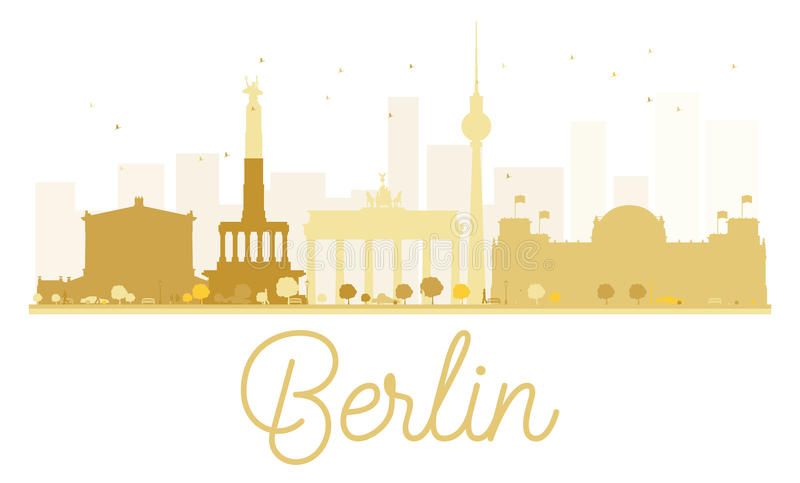 Berlin City skyline golden silhouette. vector illustration
