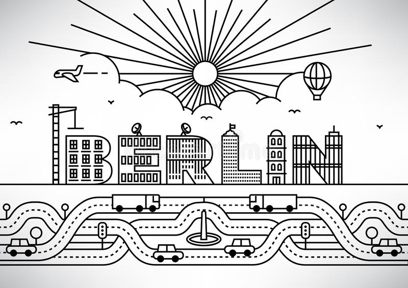Berlin City Typography Design avec les lettres de construction illustration stock