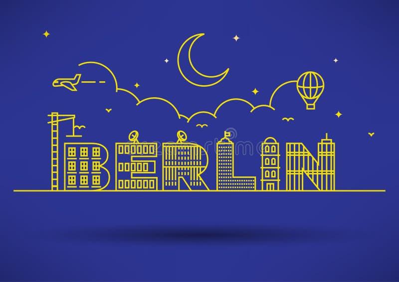 Berlin City Typography Design avec les lettres de construction illustration de vecteur
