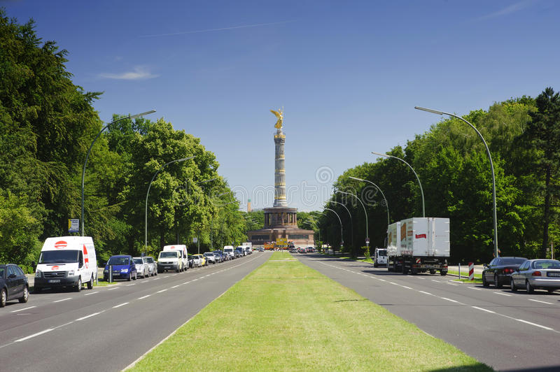 Berlin city views of the Victory Column. Berlin, GERMANY,europe - June 27: Berlin city views of the Victory Column is located on the Tiergarten, Germany,europe royalty free stock photography