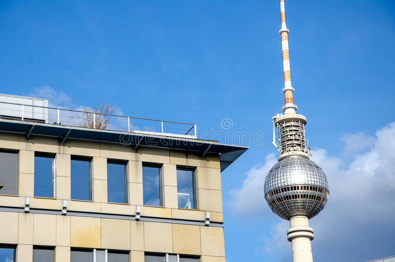 Architecture detail with tv tower in Berlin royalty free stock images