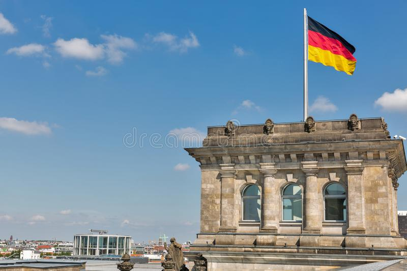 Berlin cityscape with Reichstag tower, Germany stock image