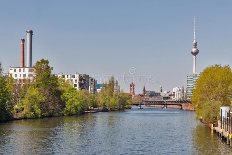 Berlin cityscape with Spree River, Germany stock images