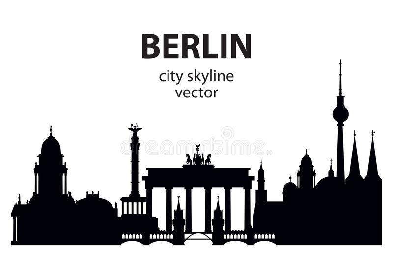 Berlin cityscape vector. Berlin skyline black silhouette illustration with architectural landmarks.Horizontal illustration of Berlin traveling concept. German royalty free illustration