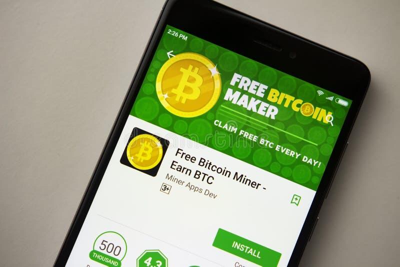 Berlin, Deutschland - 19. November 2017: Freie Bitcoin-Herstelleranwendung auf Schirm der modernen Smartphonenahaufnahme stockfotografie