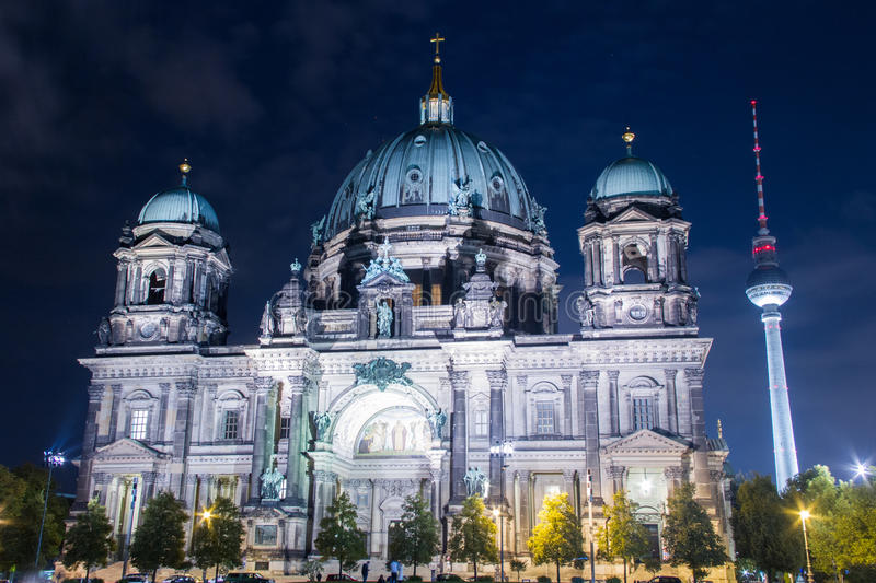 Berlin Dom Cathedral and TV Tower landmarks. Night scene in Germany royalty free stock image