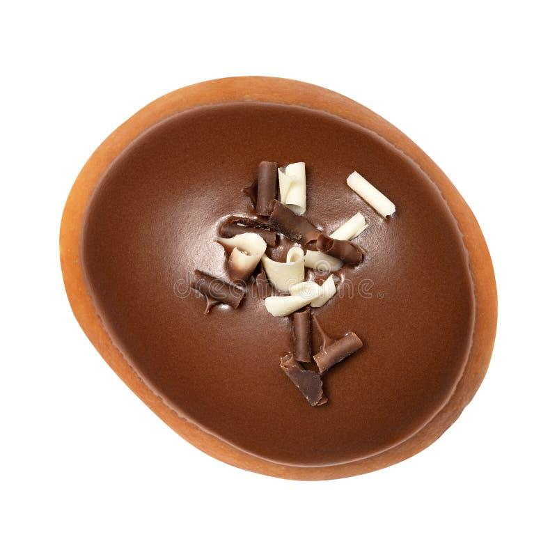 Berlin Donut met chocoladeglans dat op witte achtergrond wordt geïsoleerd Één chocoladedoughnut Front View Hoogste mening royalty-vrije stock afbeelding