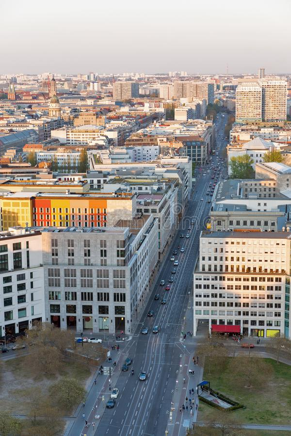 Berlin evening aerial cityscape, Germany royalty free stock photos