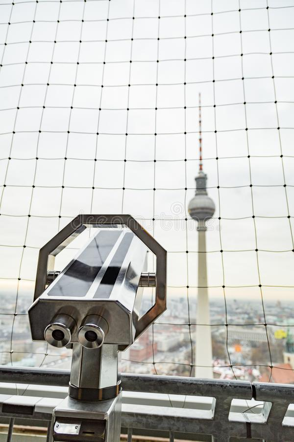 Berlin Fernsehturm Television Tower with panoramic view royalty free stock photo