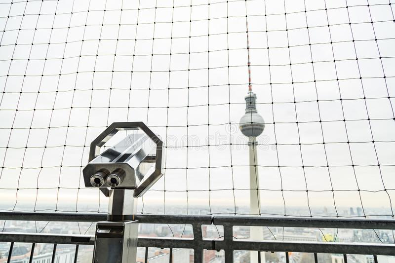 Berlin Fernsehturm Television Tower with panoramic view royalty free stock image