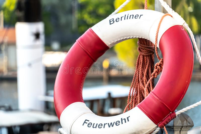 Berlin Fire Department ring buoy. Berlin, Germany - April 19, 2019: Lifebuoy of the Berlin Fire Department Berliner Feuerwehr, the fire department of the German stock image