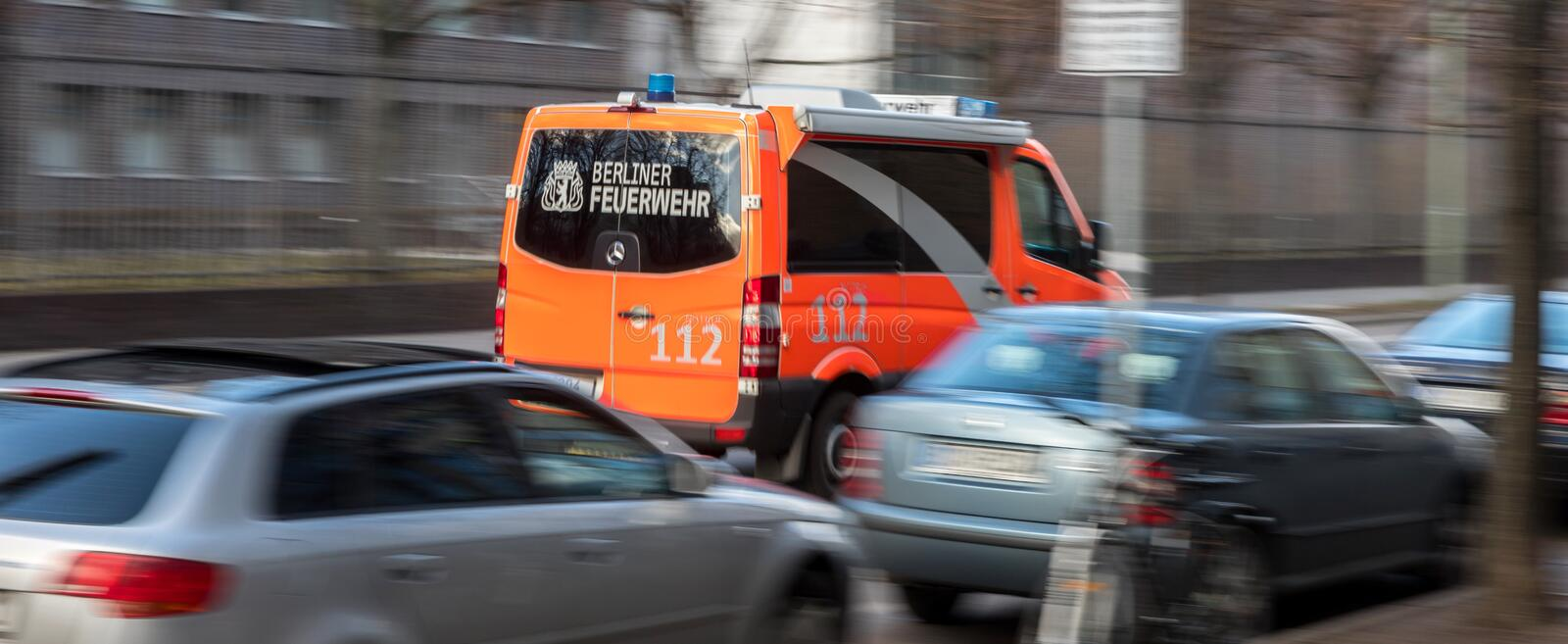Berlin firefighter truck germany stock images
