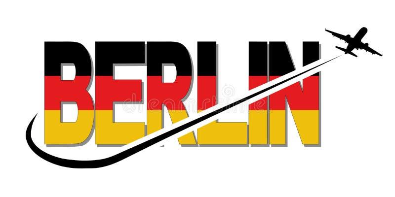 Berlin flaggatext med den plana kontur- och swooshillustrationen stock illustrationer