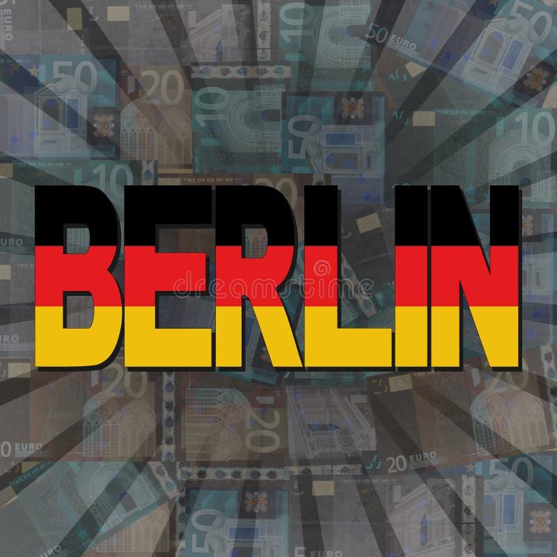 Berlin flaggatext på eurosunburstillustration stock illustrationer