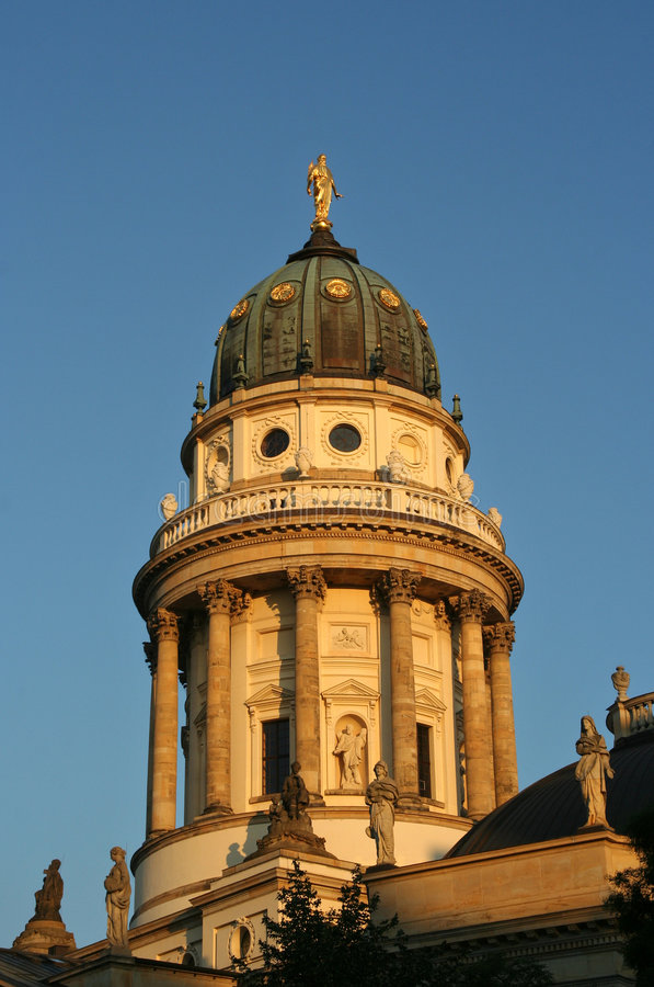 Berlin: French Cathedral on Gendarmenmarkt. In the evening sun stock photography