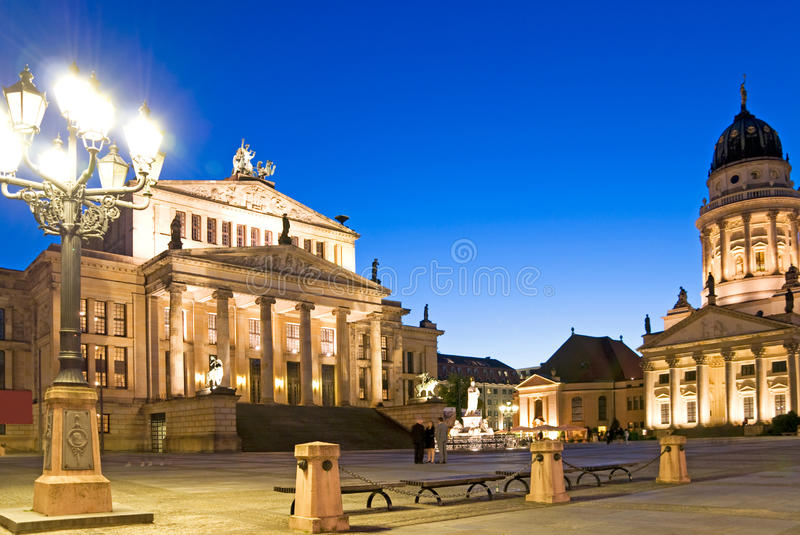 Berlin gendarmenmarkt. At night with konzerthaus and dome stock images