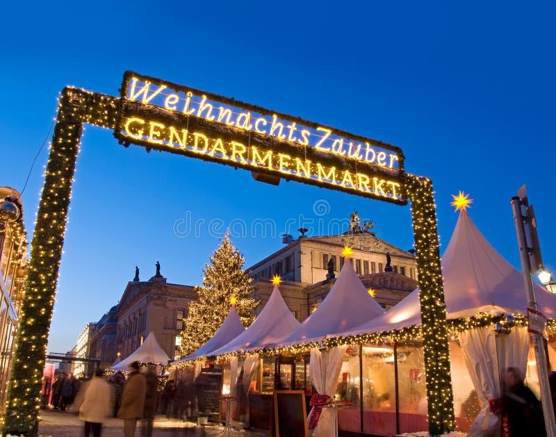 Berlin gendarmenmarkt christmas market. Berlin christmas market on gendarmenmarkt with christmas tree royalty free stock photography