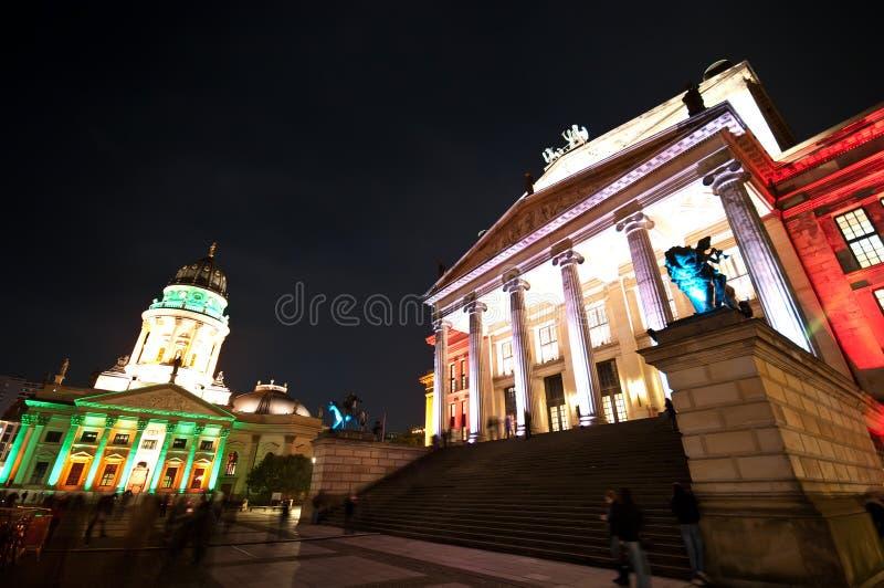 Berlin, Gendarmenmarkt illumination. Berlin, Gendarmenmarkt illuminated by special colorful lights during October Festival of Lights stock photos