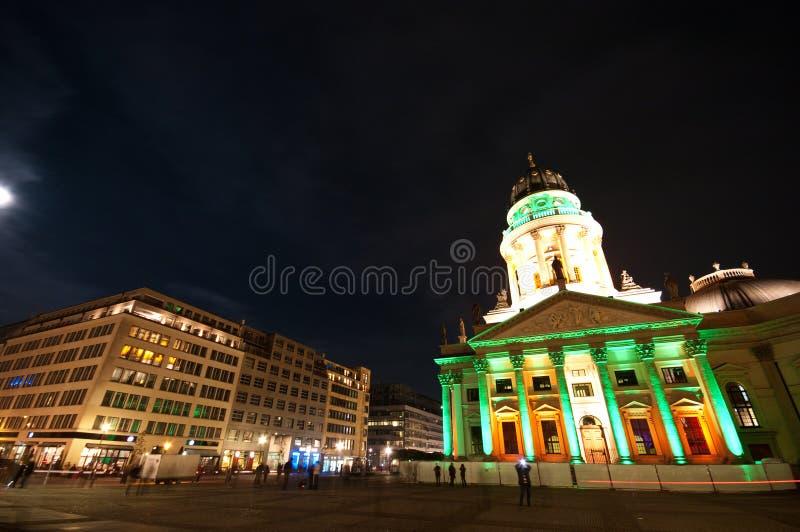 Berlin, Gendarmenmarkt illumination. Berlin, Gendarmenmarkt illuminated by special colorful lights during October Festival of Lights stock images