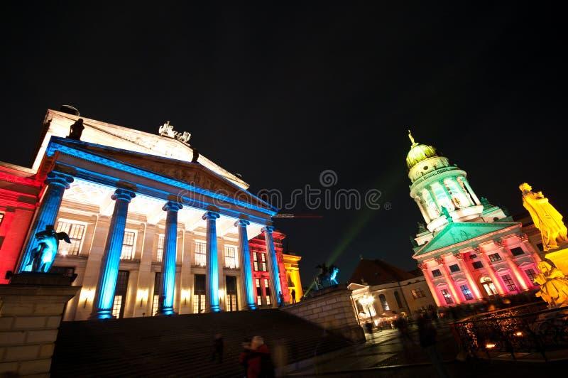 Berlin, Gendarmenmarkt illumination. Berlin, Gendarmenmarkt illuminated by special colorful lights during October Festival of Lights stock photography