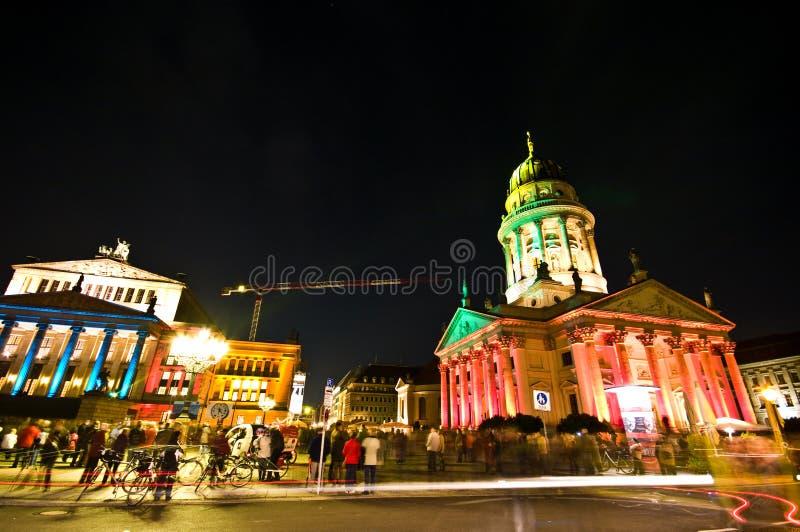 Berlin, Gendarmenmarkt illumination. Berlin, Gendarmenmarkt illuminated by special colorful lights during October Festival of Lights royalty free stock image