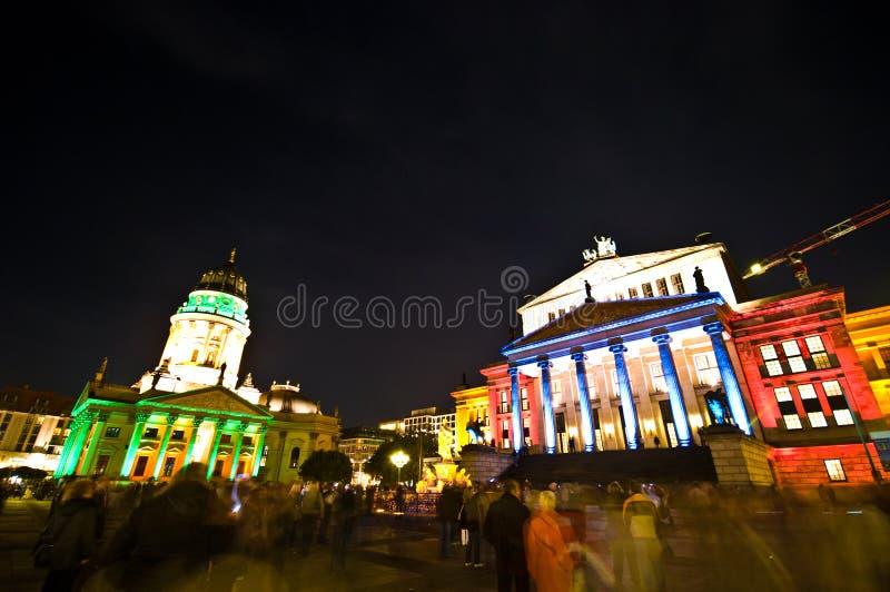Berlin, Gendarmenmarkt illumination. Berlin, Gendarmenmarkt illuminated by special colorful lights during October Festival of Lights royalty free stock photography
