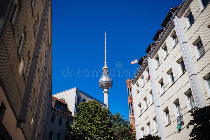 Berlin Germany Alexanderplatz Tower fotografia de stock