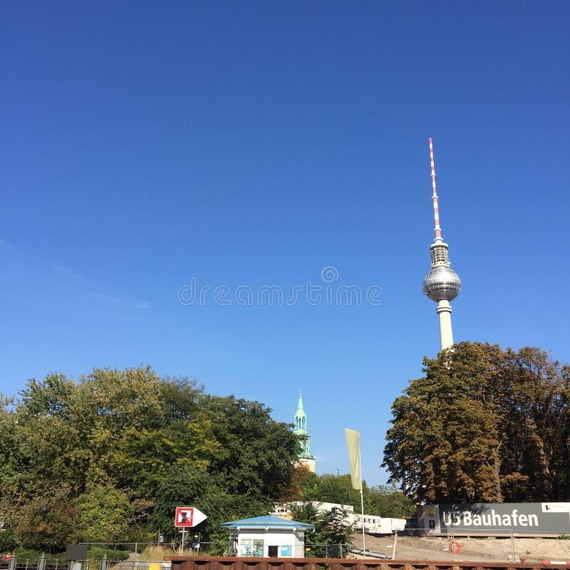 Berlin Germany Alexanderplatz Tower arkivbilder