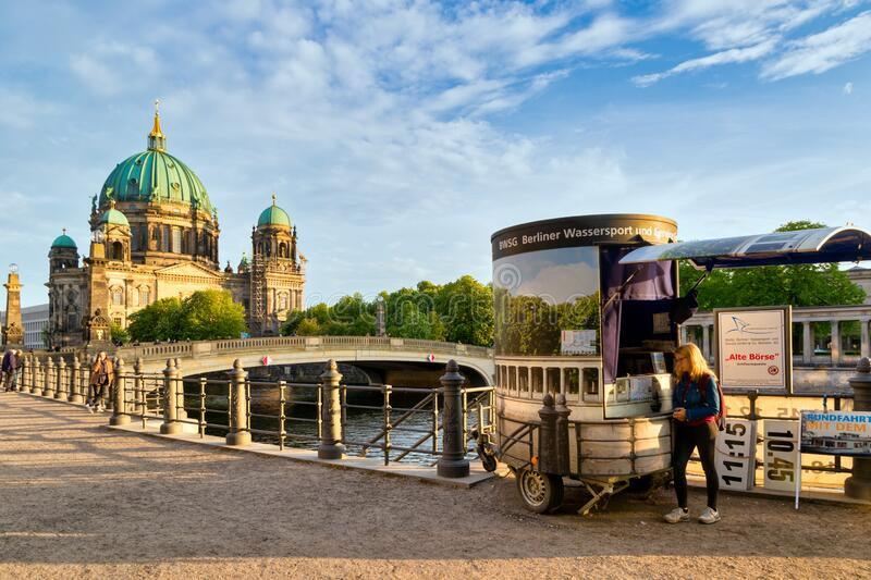 BERLIN, GERMANY - APR 27, 2018: Berliner Dom along the Spree river in Berlin city centre, Germany royalty free stock image