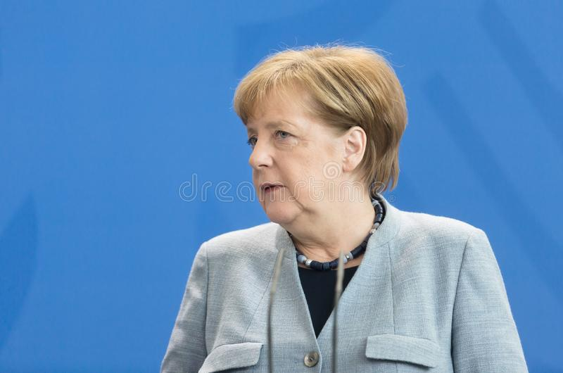 Chancellor of the Federal Republic of Germany Angela Merkel. BERLIN, GERMANY - Apr. 10, 2018: Chancellor of the Federal Republic of Germany Angela Merkel during stock photo