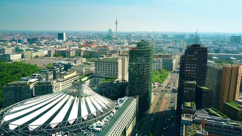 BERLIN, GERMANY - APRIL 30, 2018. Aerial view of cityscape from Potsdamer platz involving Sony Center and famous TV stock photo