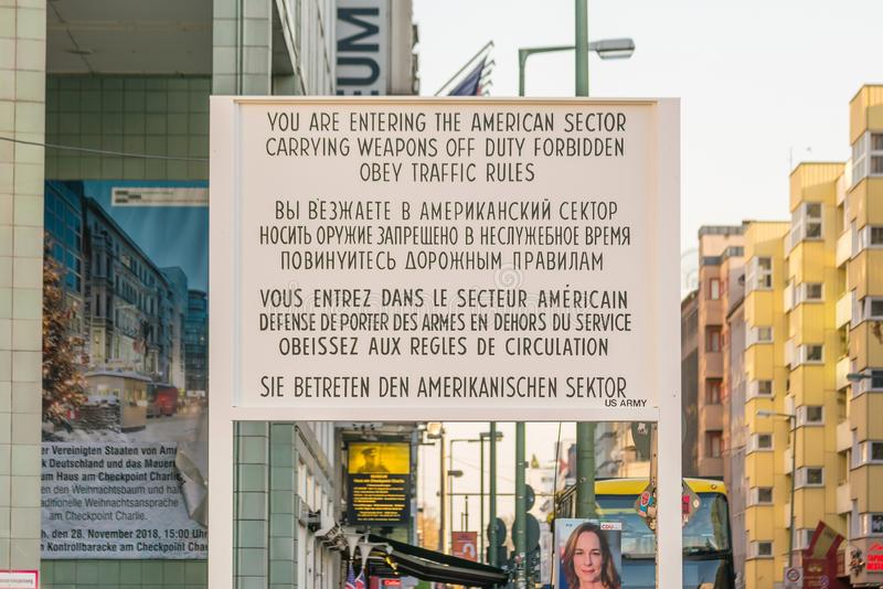 Checkpoint Charlie in Berlin, Germany stock image